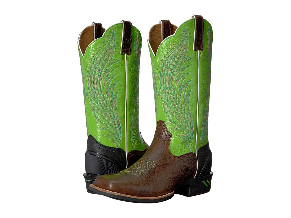 Ariat - Catalyst Prime (Brush Country Brown/Bright Lime) Cowboy Boots
