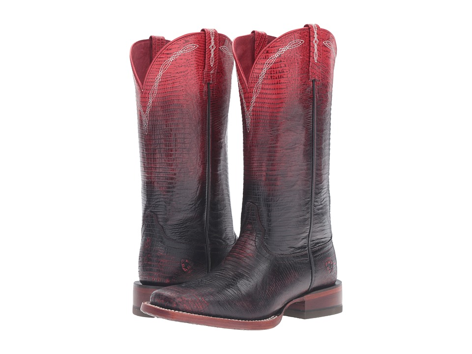 Ariat - Ombre Wide Square (Ombre Red Lizard Print) Cowboy Boots