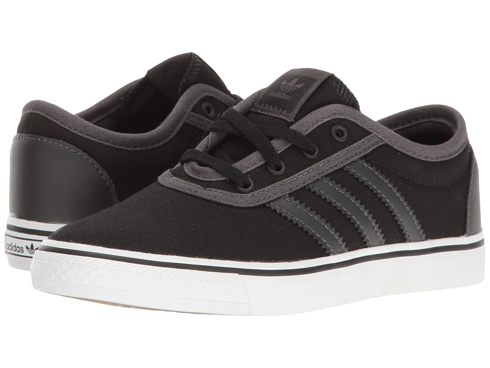 adidas Skateboarding - Adi-Ease J (Little Kid/Big Kid) (Black/Dark Grey Heather Solid Grey/White) Skate Shoes
