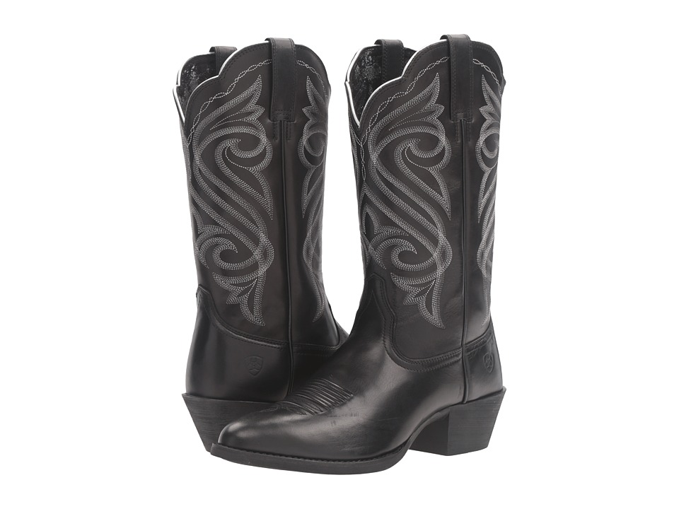 Ariat - Round Up R Toe (Limousin Black) Cowboy Boots