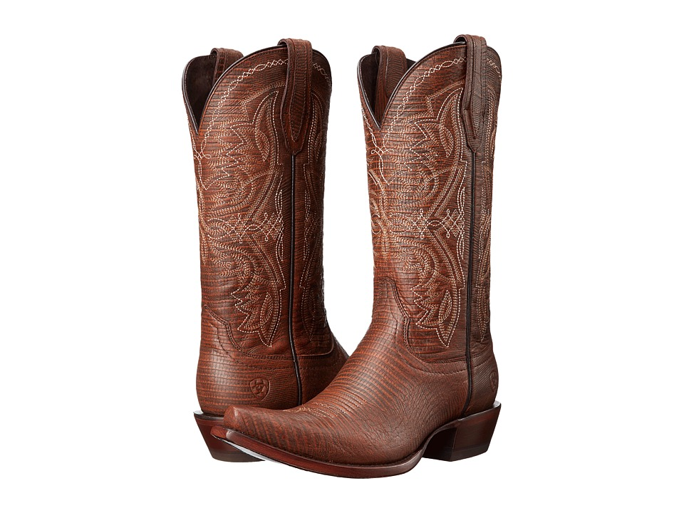 Ariat Alamar Chocolate Lizard Print Cowboy Boots