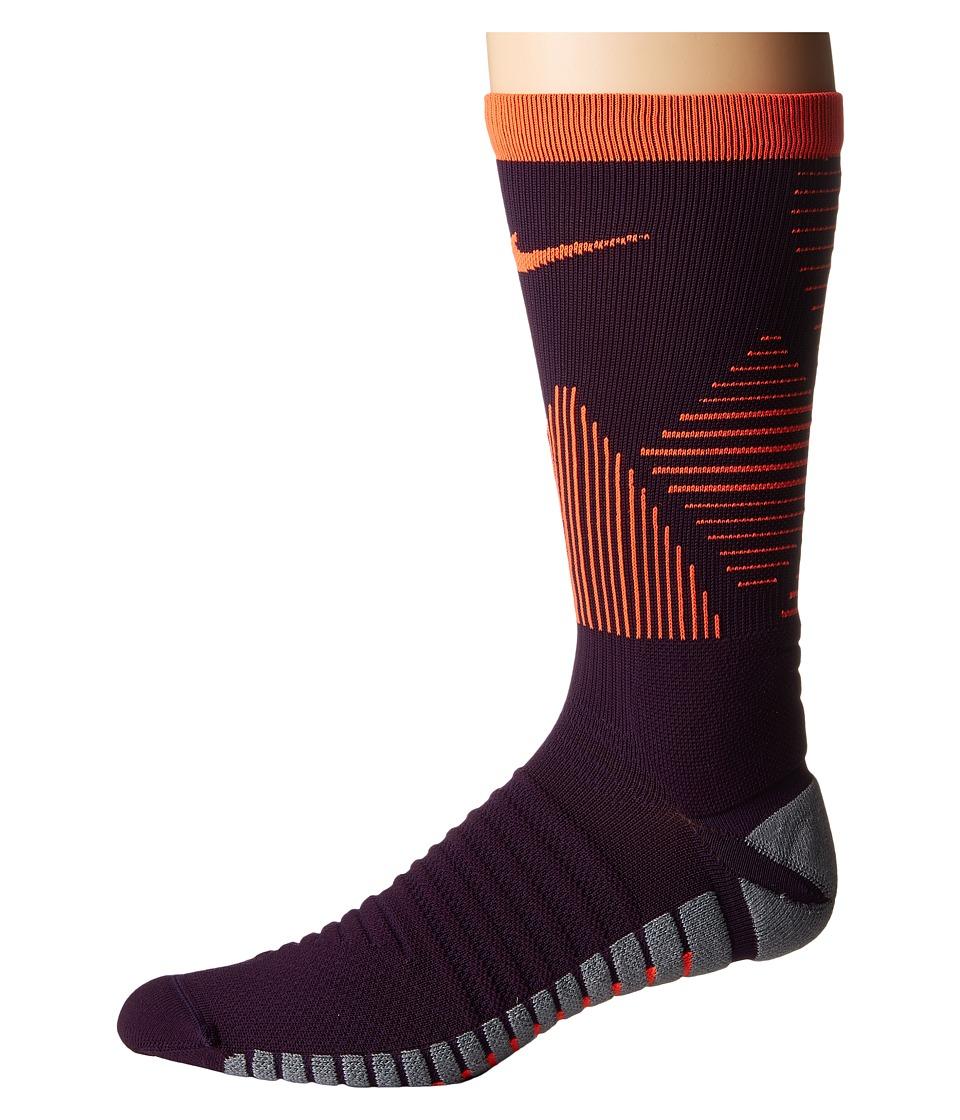 Nike Strike Mercurial Soccer (Grand Purple/Total Crimson/Total Crimson) Crew Cut Socks Shoes
