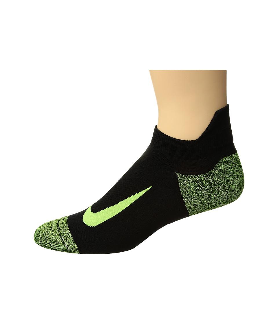 Nike Elite Merino Lightweight No Show Running Sock (Black/Black/Volt) No Show Socks Shoes