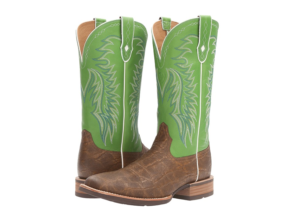 Ariat - Big Loop (Golden Tan Elephant Print/Vibrant Green) Cowboy Boots