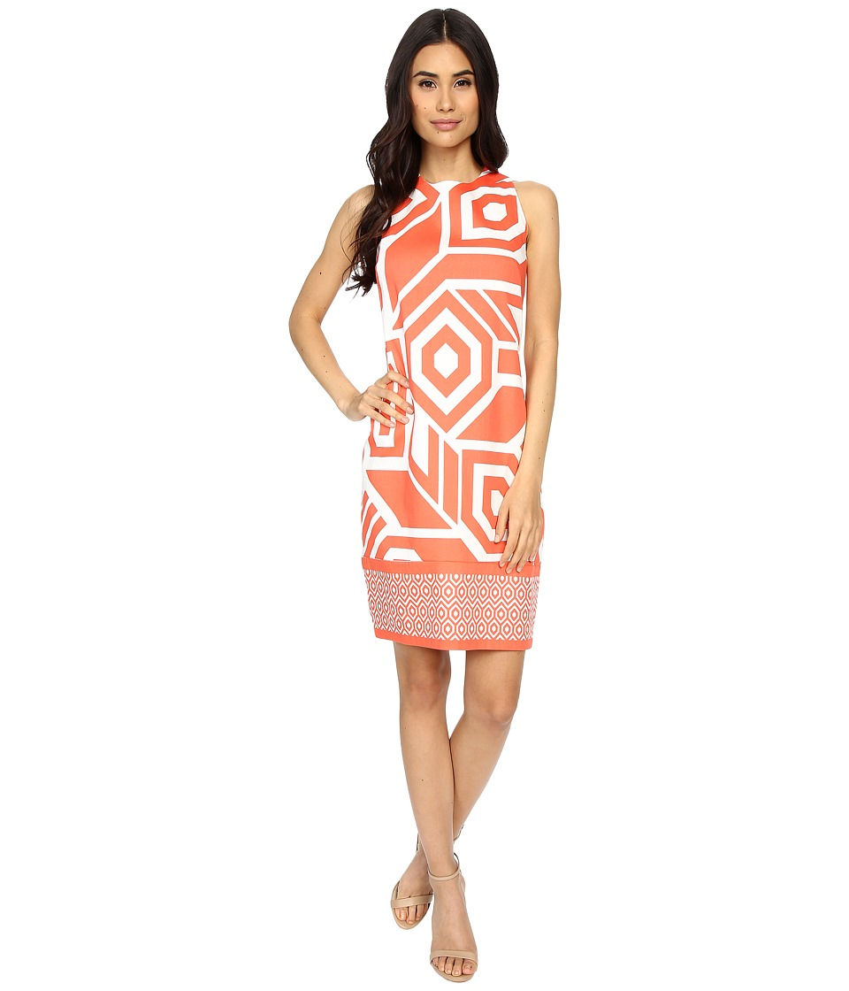 London Times - Sleeveless Printed Shift (Cream/Coral) Women's Dress