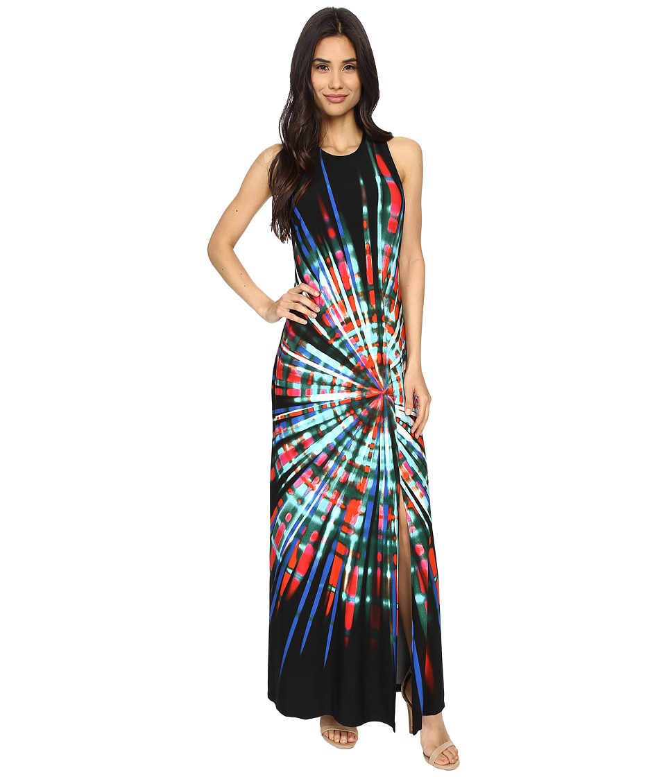 London Times - Spin Art Gathered Side Maxi (Black Multi) Women's Dress