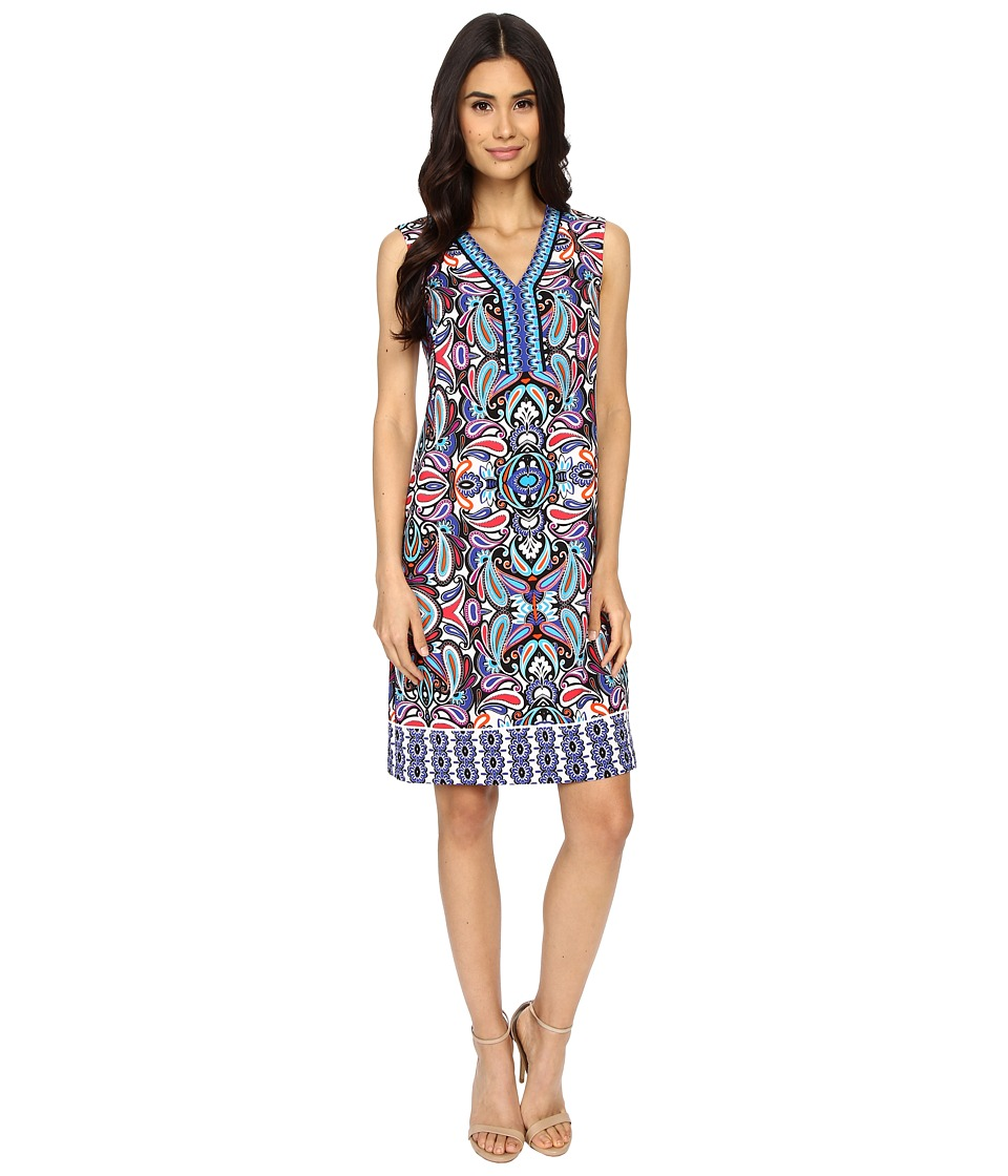 London Times - Paisley Circus Shift (Blue Multi) Women's Dress