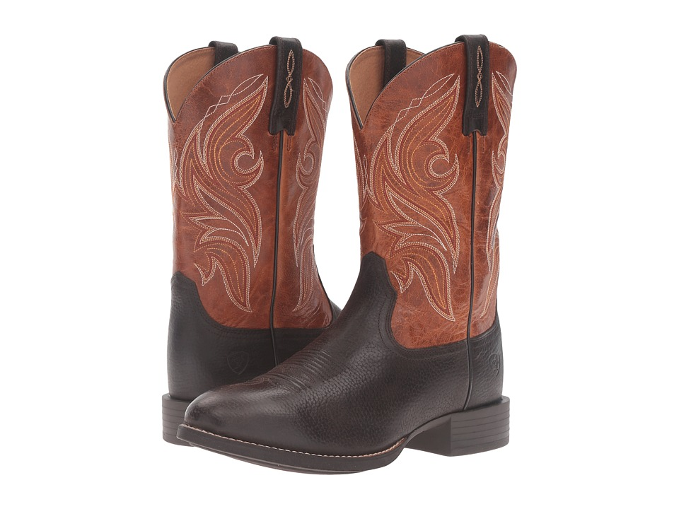 Ariat - Heritage Cowpuncher (Iron Coffee/Two-Tone Tan) Cowboy Boots
