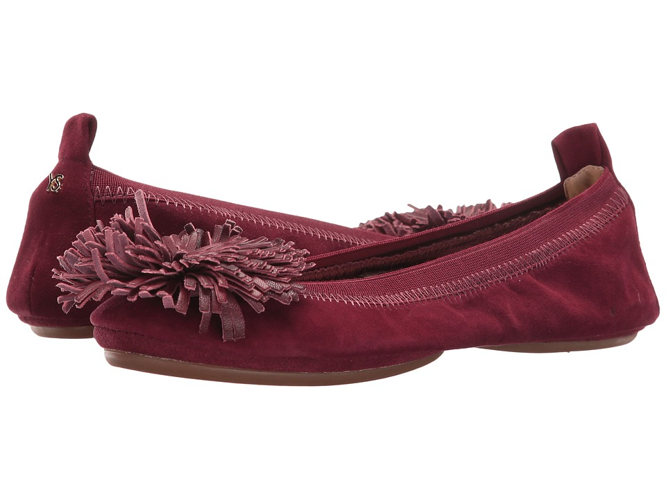 Yosi Samra - Samara Leather Pom Pom (Rosewood) Women's Shoes