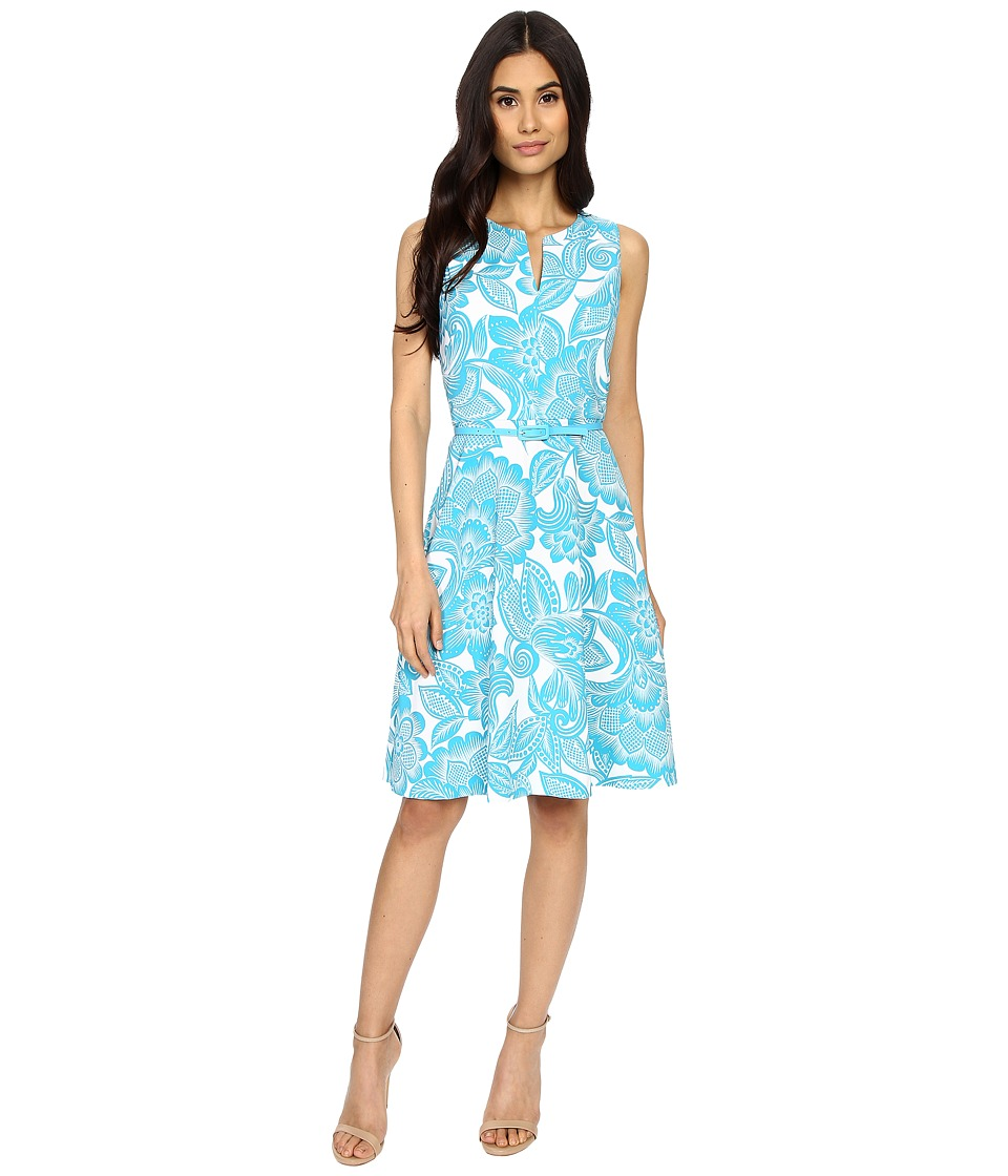 London Times - Wallpaper Leaf Belted Full Skirt (Soft White/Blue) Women's Dress