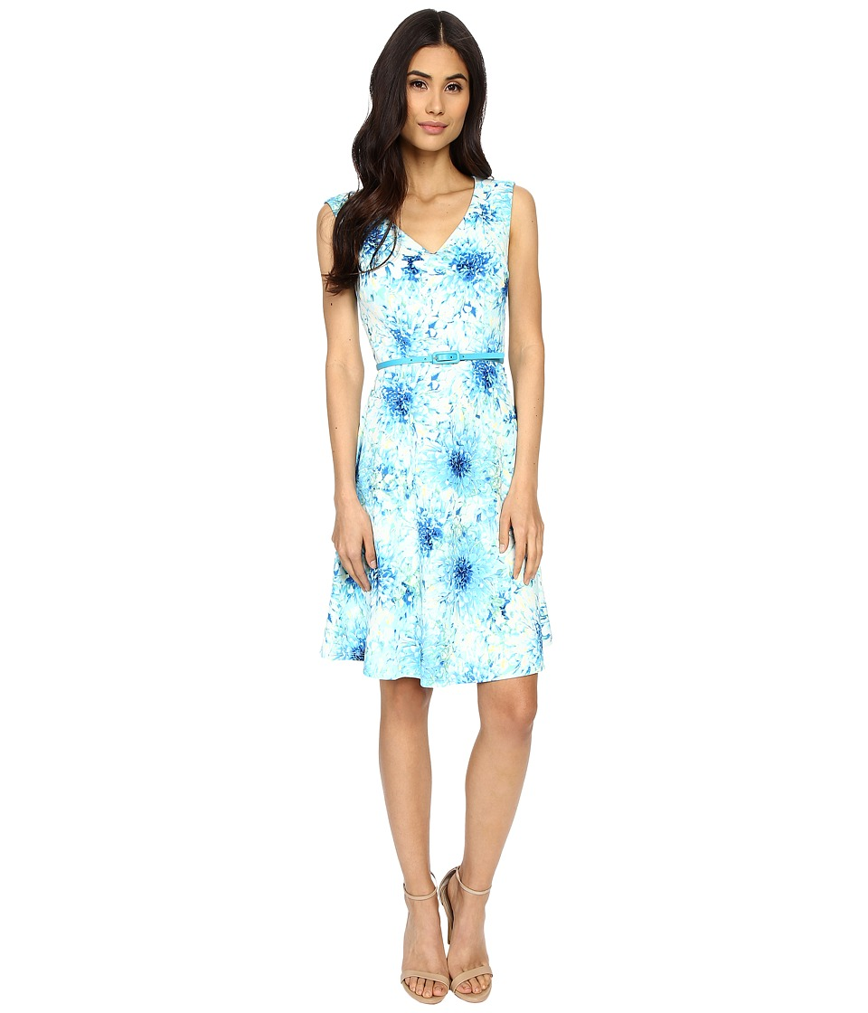 London Times - Spring Dahlia Belted Drop Skirt (Blue) Women's Dress