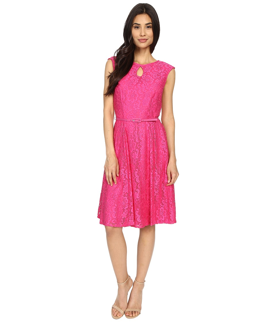 London Times - Fun Flower Lace Fit and Flare (Pink) Women's Dress