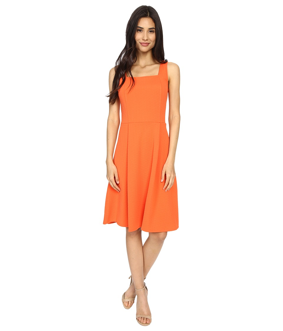London Times - Geo Diamond Texture Fit Flare (Orange) Women's Dress