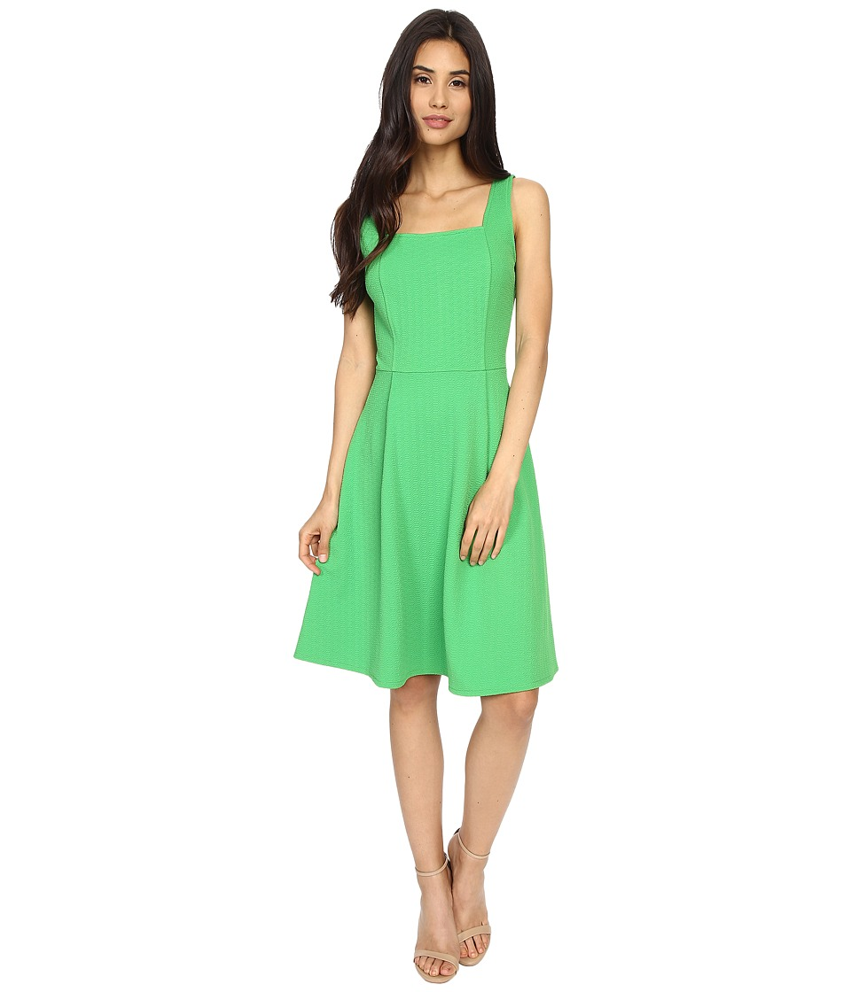 London Times - Geo Diamond Texture Fit Flare (Green) Women's Dress