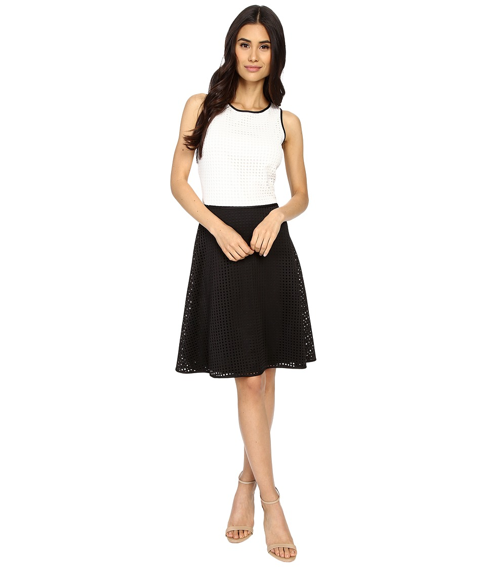London Times - Laser Box Scuba Full Skirt (White/Black) Women's Dress