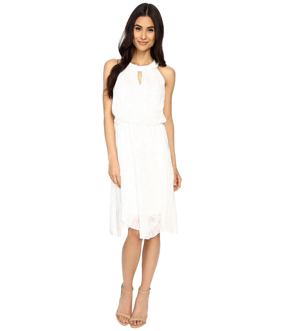 London Times - Daisy Burnout Blouson Fit Flare (White) Women's Dress