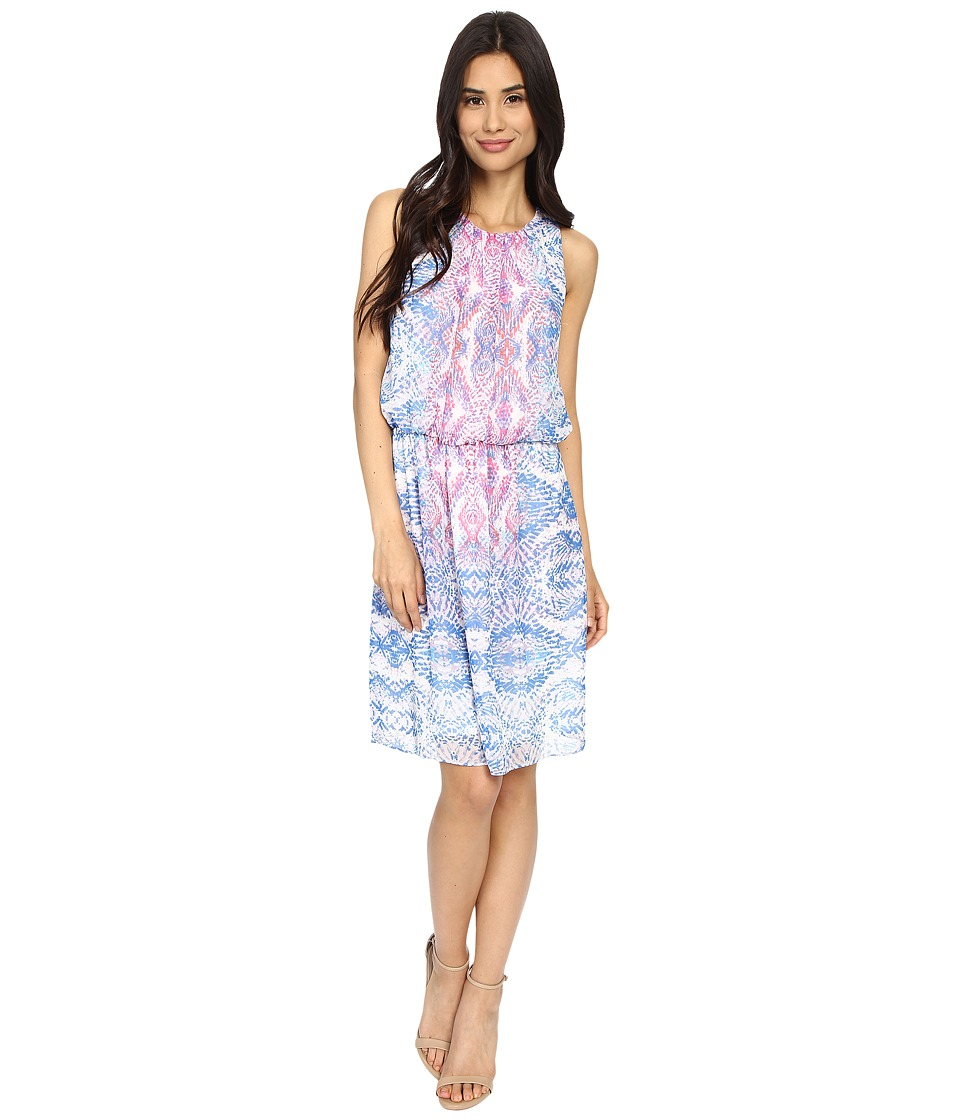 London Times - Kaleidoscope Mosiac Sleeveless Blouson (Blue Multi) Women's Dress