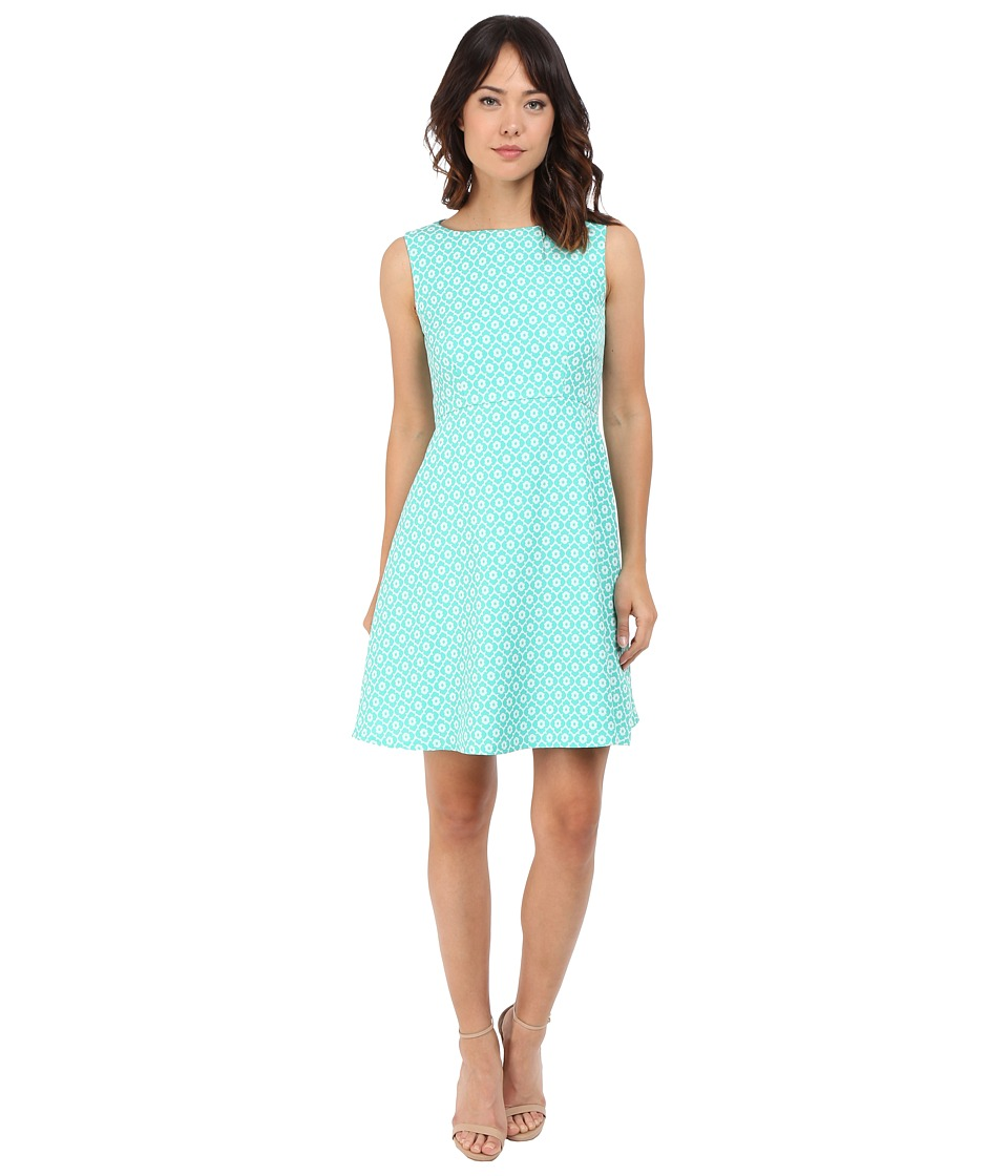 Tahari by ASL - Printed Jacquard Fit-and-Flare Dress (Seaglass/White) Women's Dress