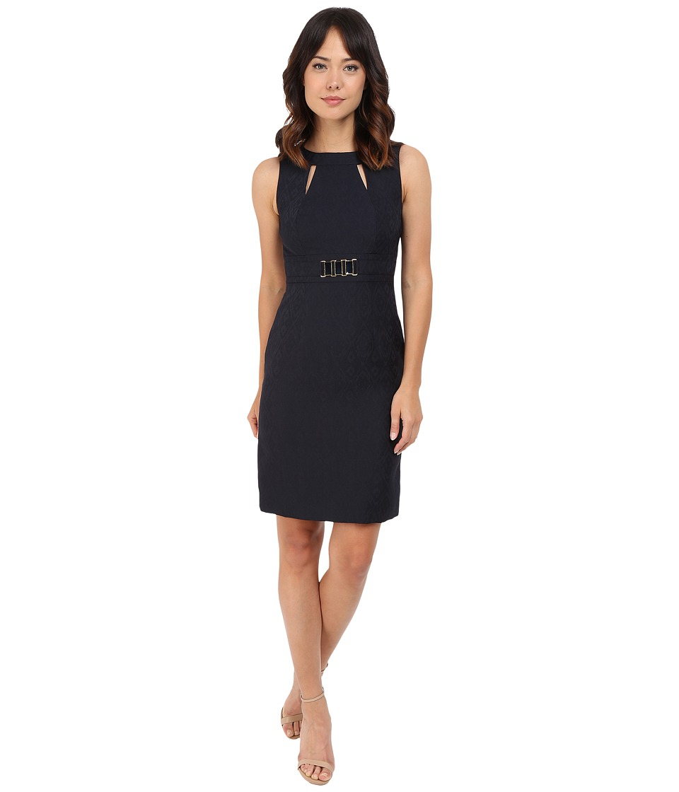 Tahari by ASL - Jacquard Sheath Dress w/ Cut Outs and Rectangular Waist Hardware (Navy) Women's Dress