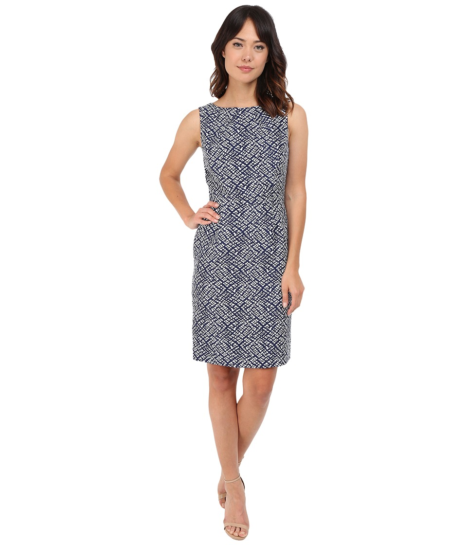 Tahari by ASL - Pleat Neck Sheath Dress w/ Cut Out Straps (Navy/White) Women's Dress