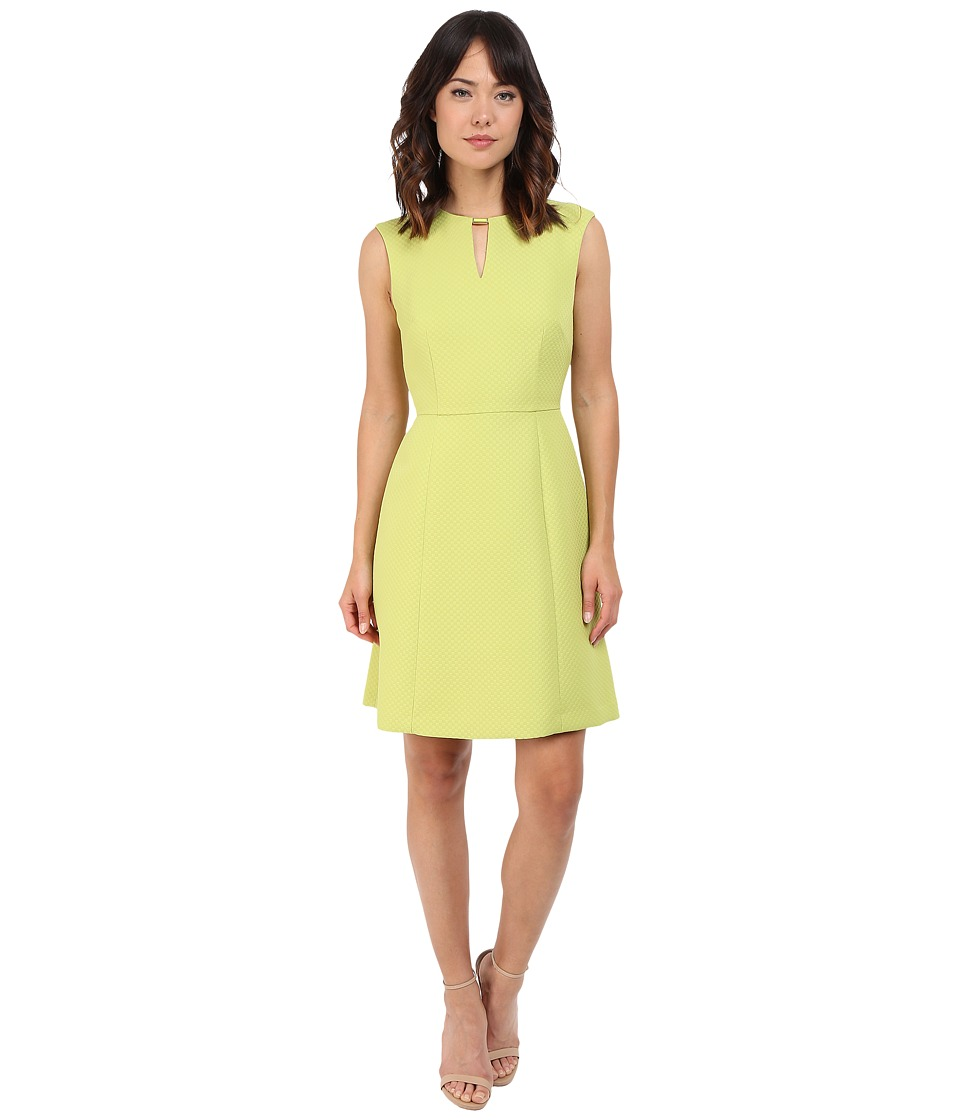 Tahari by ASL - Sleeveless Notch-Neck A-Line Dress (Lime Green) Women's Dress