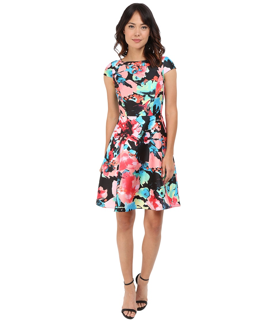 Tahari by ASL - Cap Sleeve Printed Fit-and-Flare Dress (Black/Coral/Sky) Women's Dress