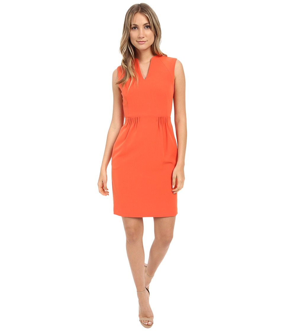 Tahari by ASL - Paper-Bag Waist Pique Sheath Dress (Tangerine) Women's Dress