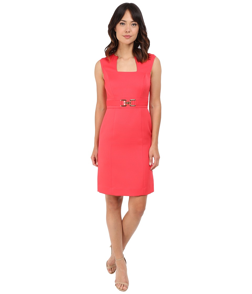 Tahari by ASL - Horseshoe Neck Sheath Dress w/ Gold Belt Hardware (Strawberry) Women's Dress