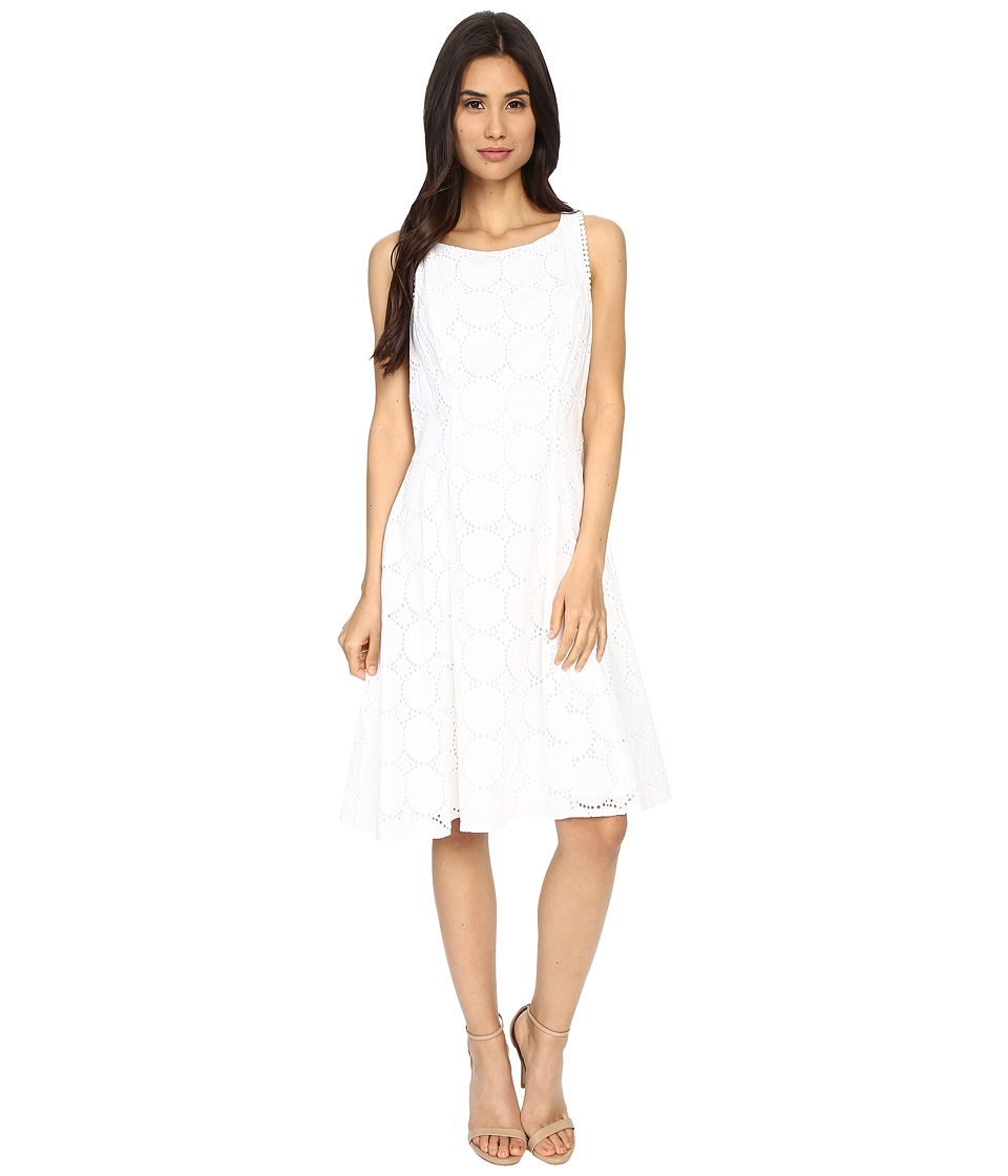 London Times - Circle Dot Eyelet Fit Flare (White) Women's Dress