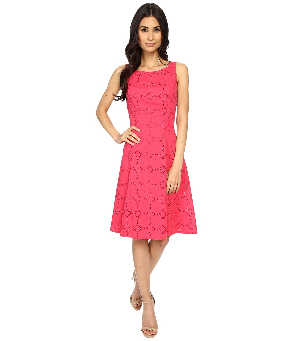 London Times - Circle Dot Eyelet Fit Flare (Sugar Pink) Women's Dress