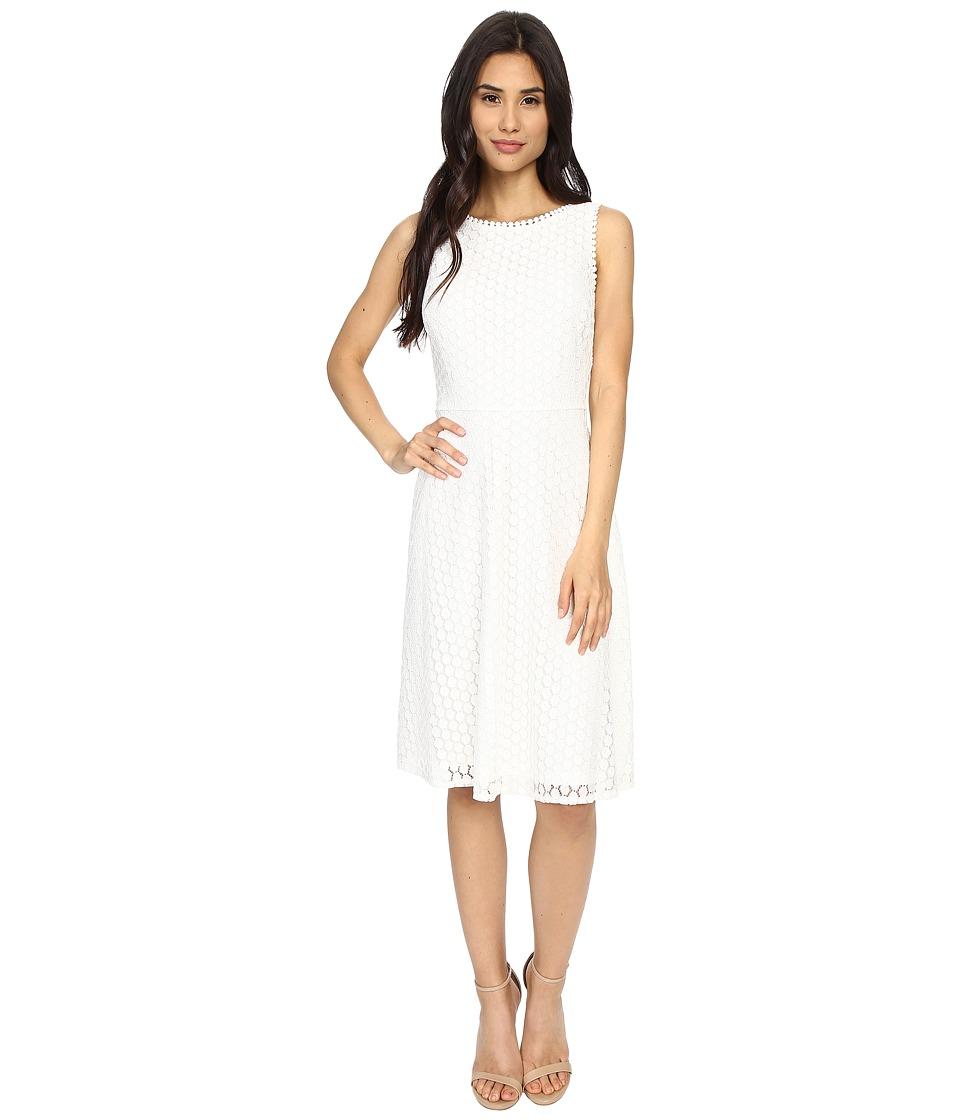 London Times - Geo Dot Lace Sleeveless Full Skirt (White) Women's Dress