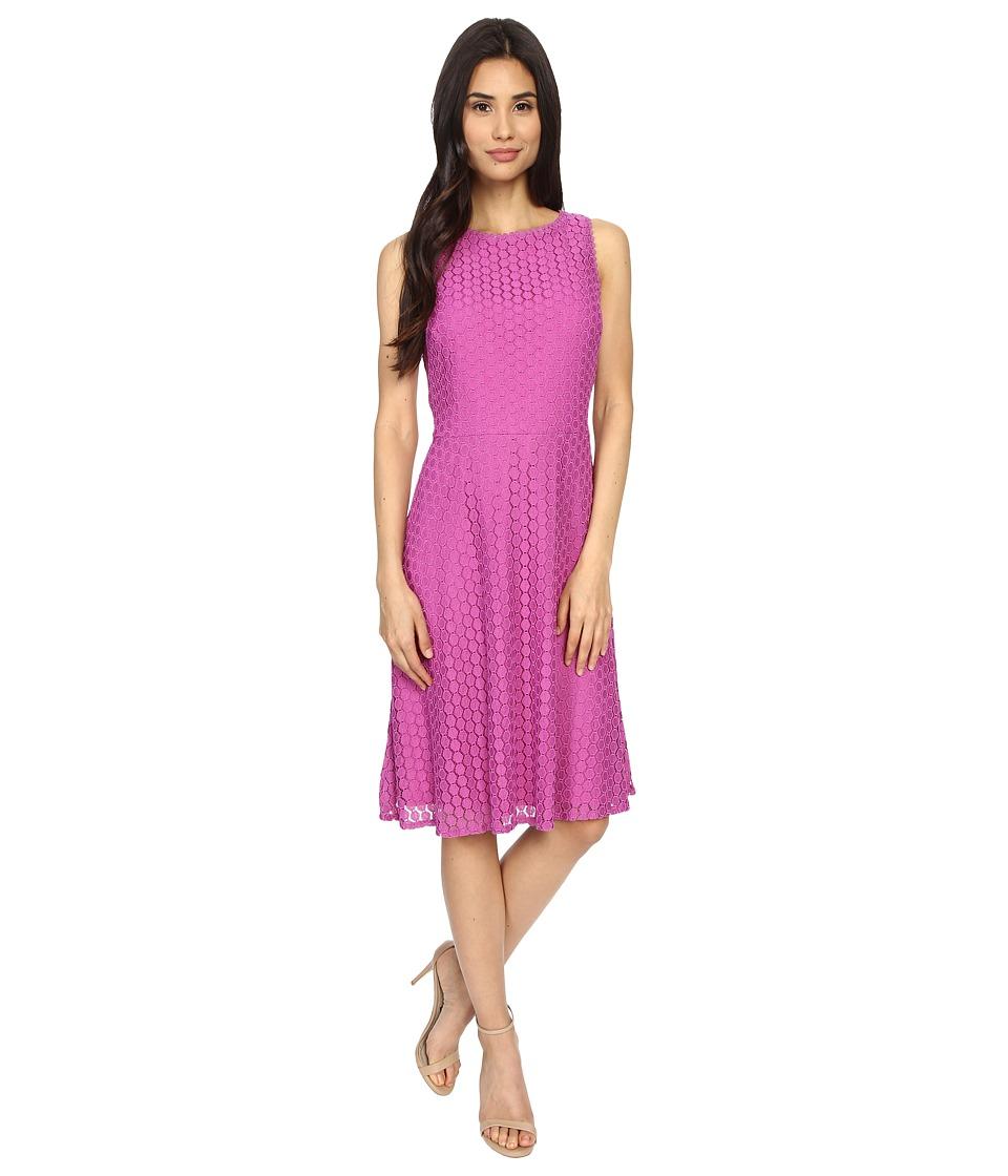 London Times Geo Dot Lace Sleeveless Full Skirt (Berry) Women