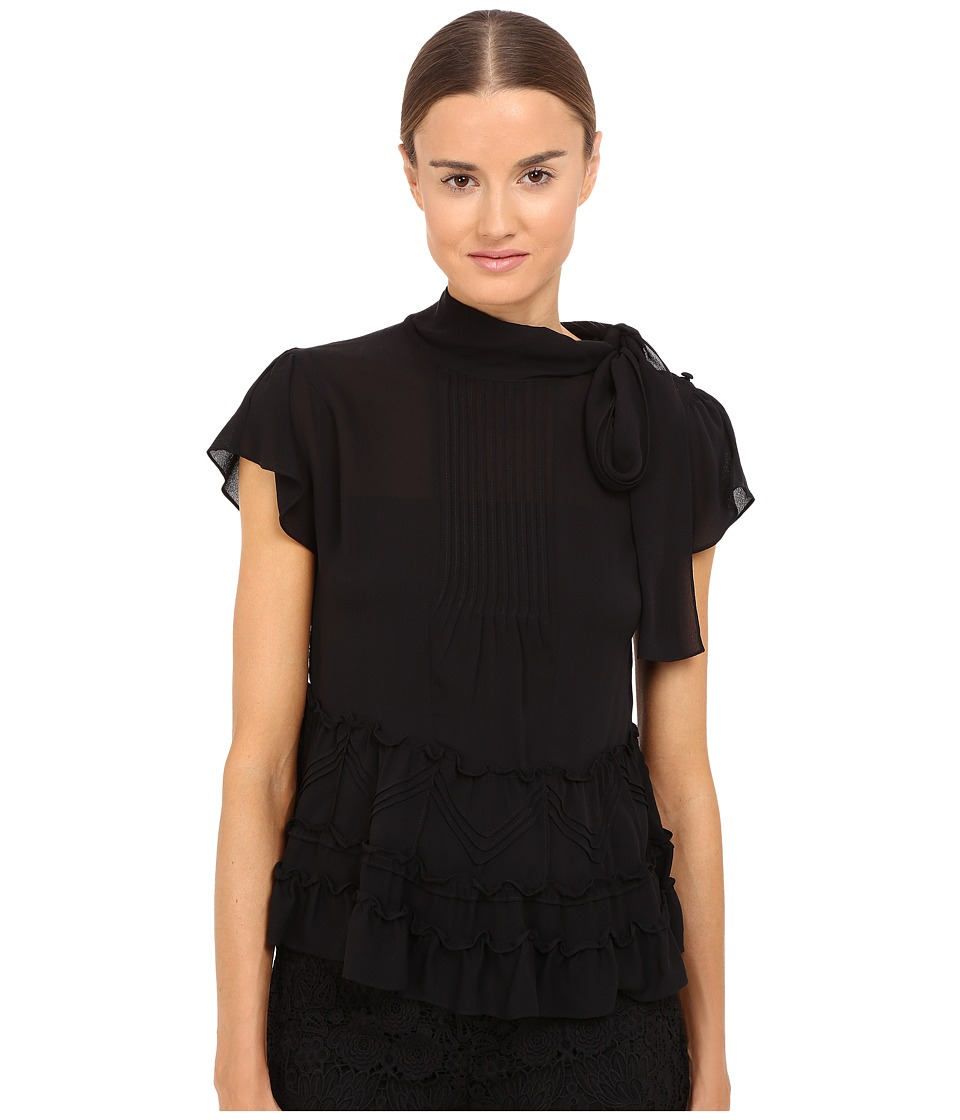 RED VALENTINO - Diamonds Embroidery Silk Georgette Blouse (Black) Women's Blouse