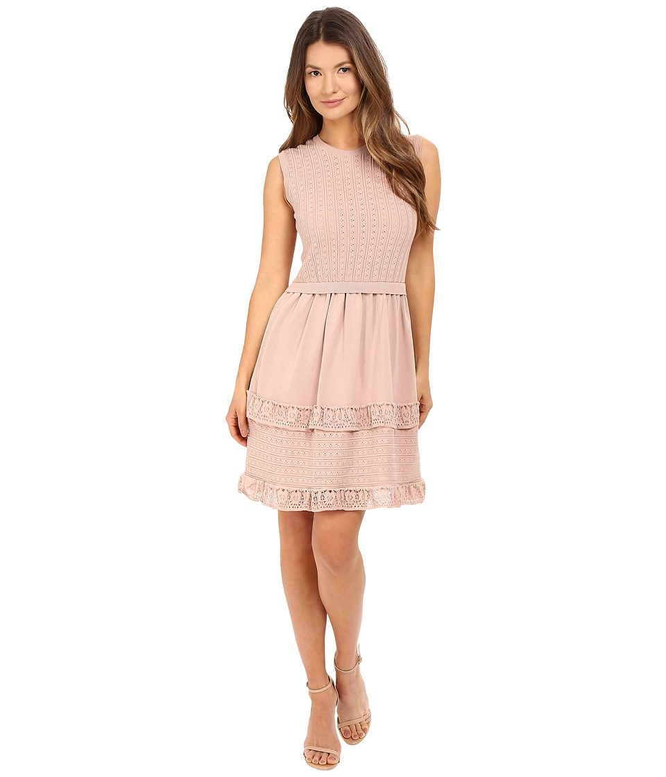 RED VALENTINO - Cotton Yarn Lingerie Stitching Point D'Esprit Dress (Nude) Women's Dress