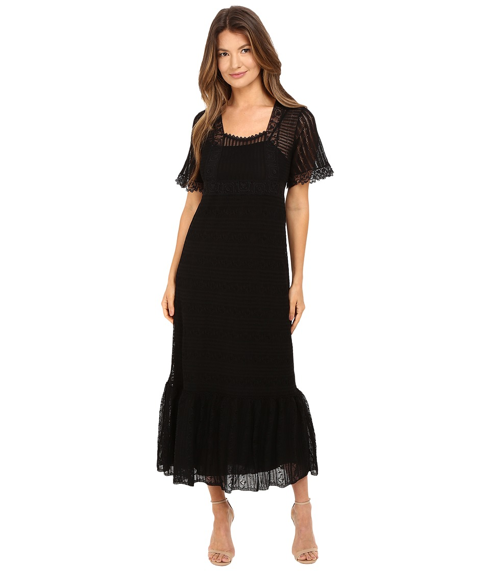 RED VALENTINO - Cotton Yarn Lingerie Stiching Macrame Riboons Dress (Black) Women's Dress