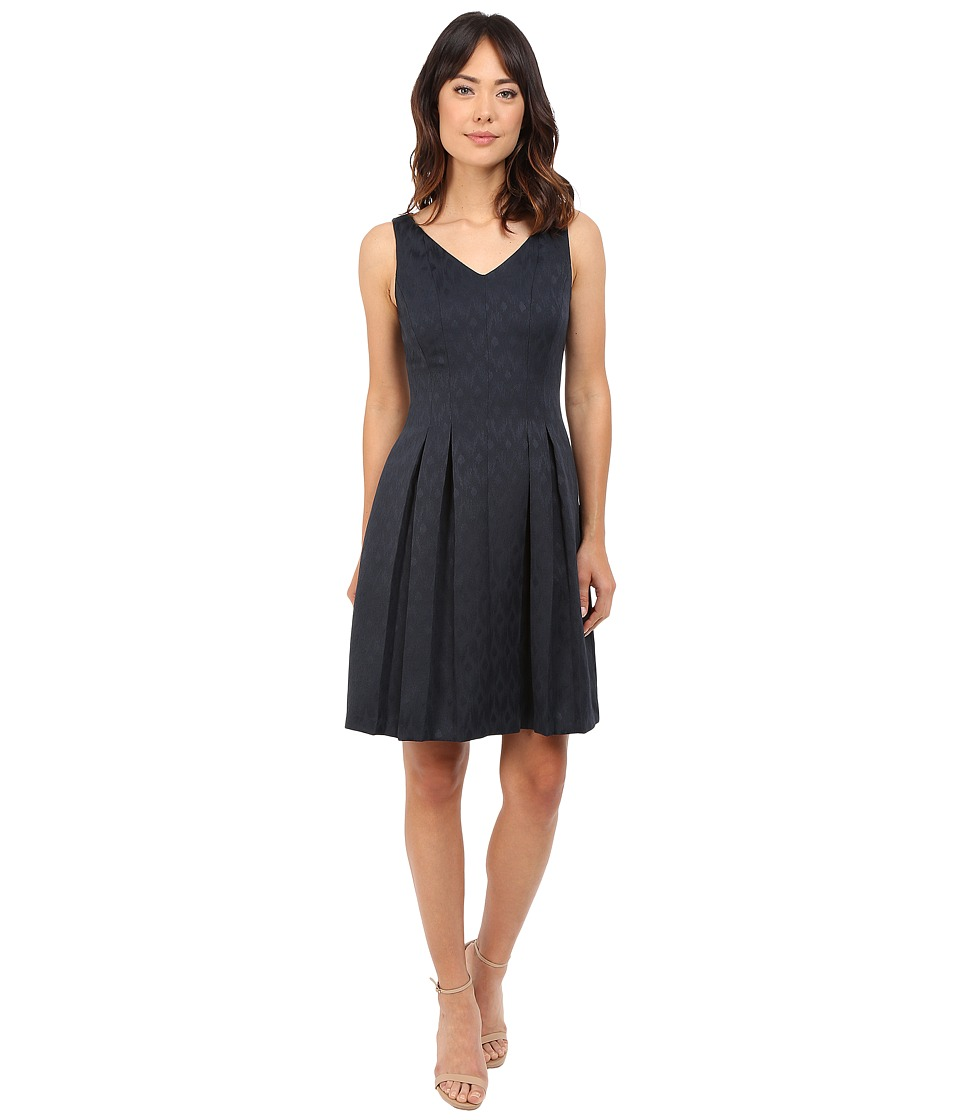 Tahari by ASL - Sleeveless Jacquard V-Neck Dress w/ Pleated Skirt (Navy) Women's Dress