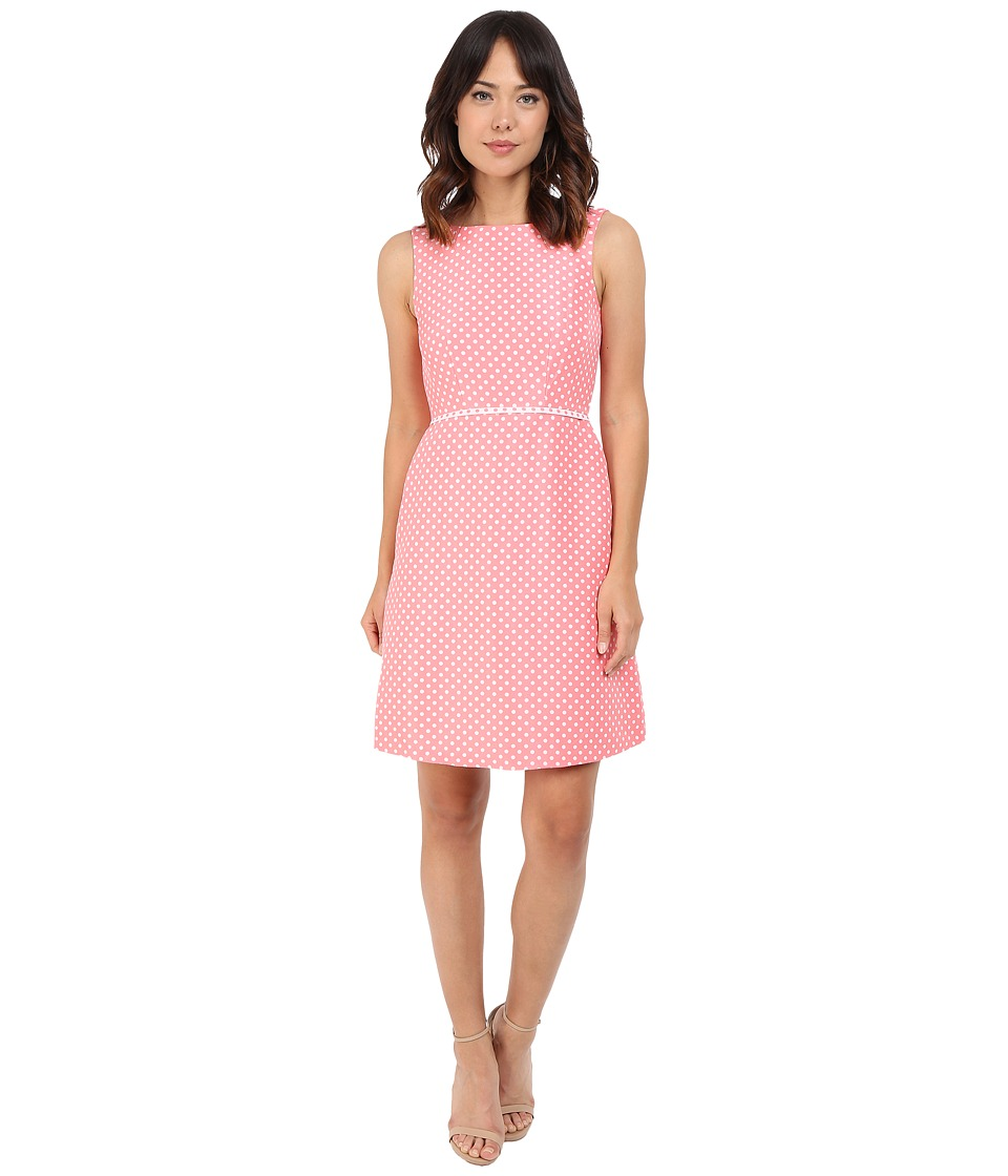 Tahari by ASL - Dot Print A-Line Dress w/ Contrast Trim (Coral/White) Women's Dress