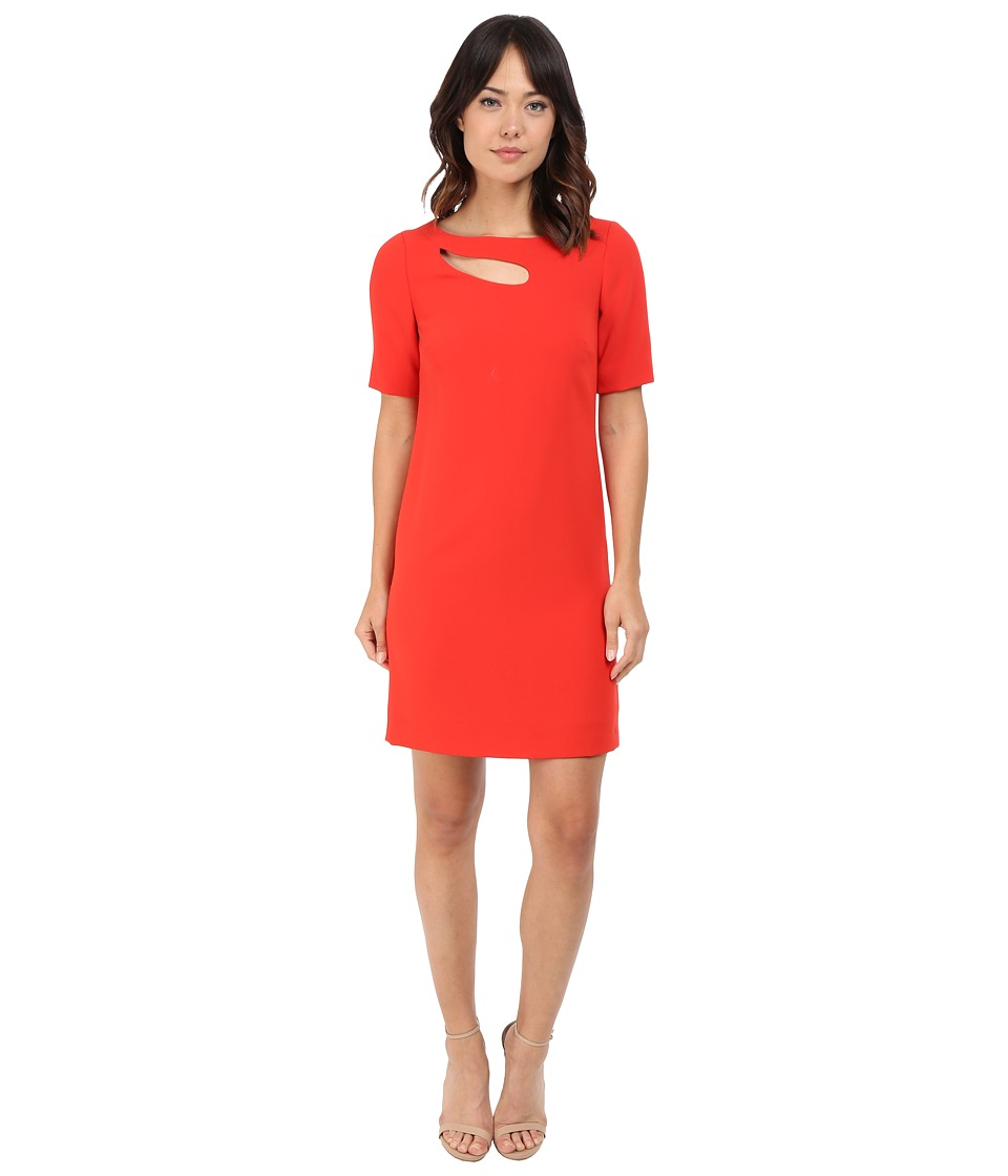 Tahari by ASL - Sleeved Shift Dress w/ Bodice Cut Out (Tomato Red) Women's Dress