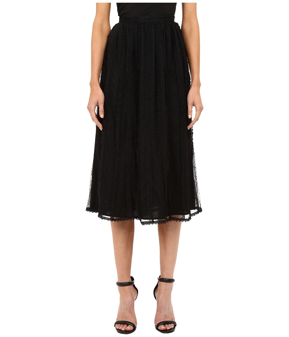 RED VALENTINO - Point D'Esprit Tulle Macrame Lace Ribbons Skirt (Black) Women's Skirt