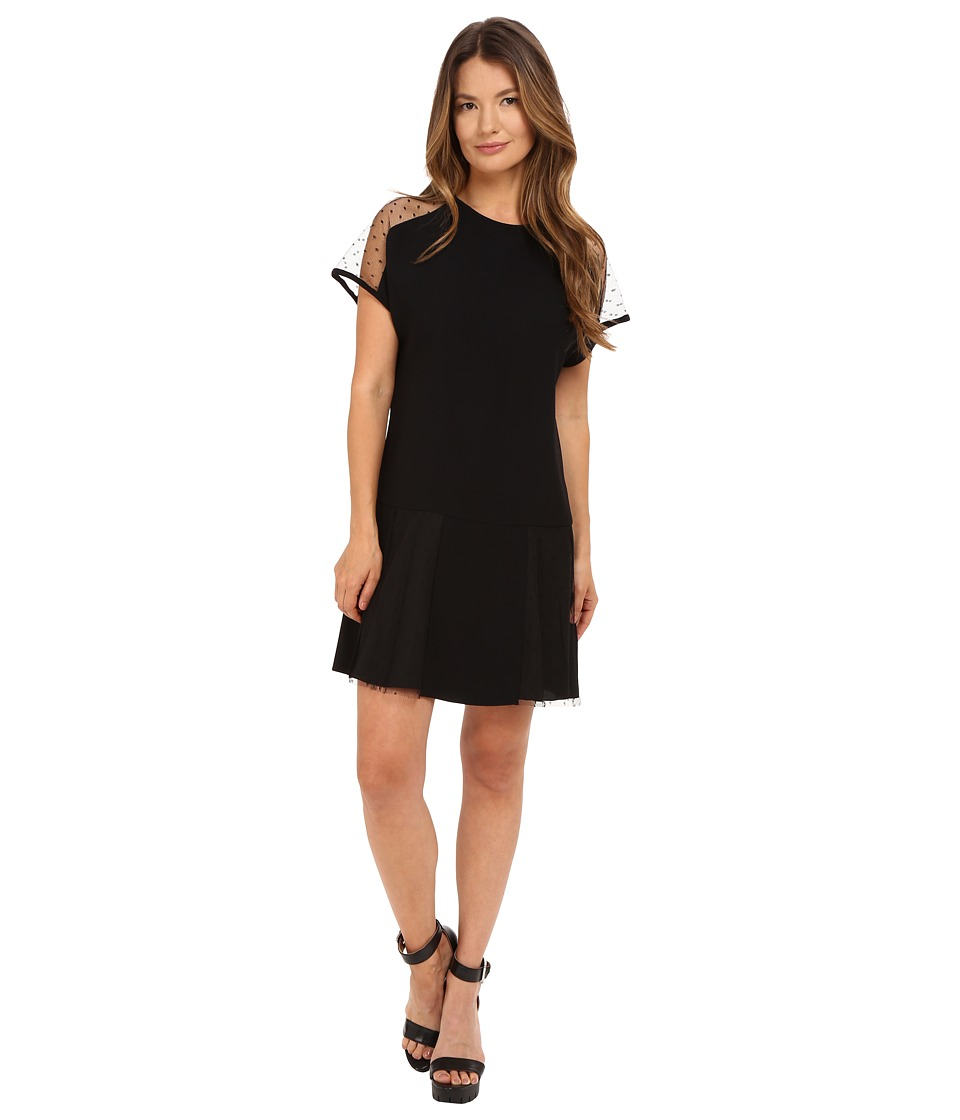 RED VALENTINO - Crepe Envers Satin Soft Point D'Esprit Dress (Black) Women's Dress
