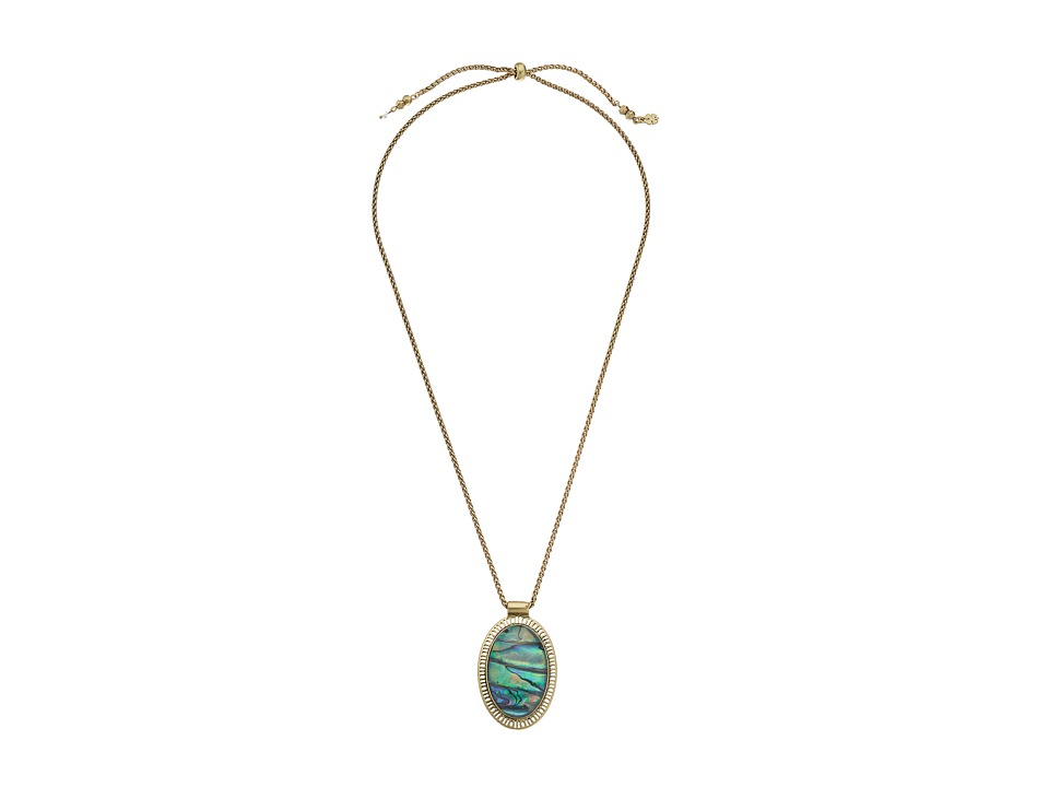 Lucky Brand - Abalone Pendant Necklace (Medium Grey) Necklace