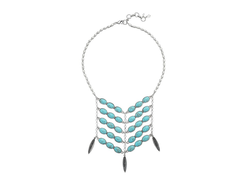 Lucky Brand - Turquoise Bib Necklace (Medium Grey) Necklace