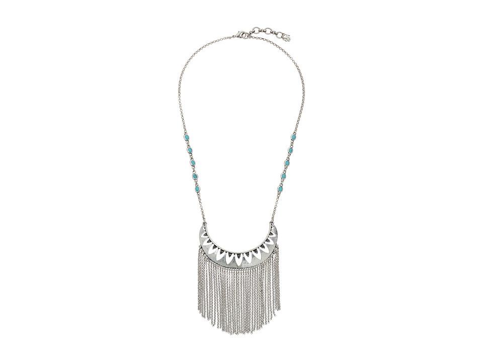 Lucky Brand - Openwork Fringe Necklace (Medium Grey) Necklace