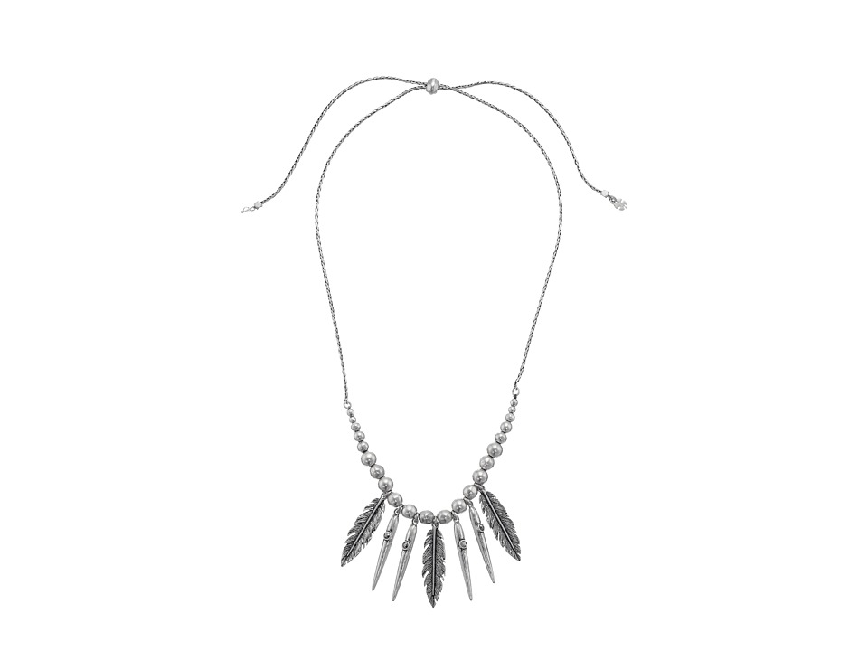 Lucky Brand - Feather Fringe Necklace (Medium Grey) Necklace