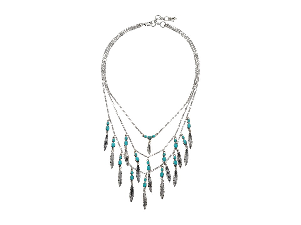 Lucky Brand - Feather Layered Necklace (Medium Grey) Necklace