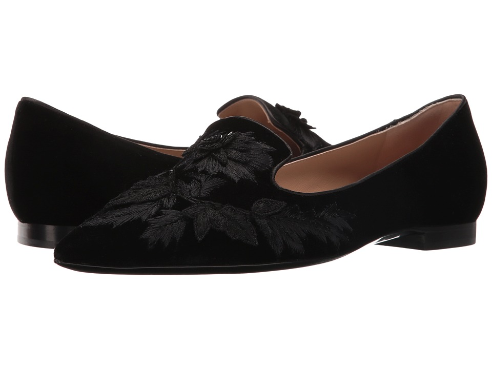 Alberta Ferretti - Embroidered Slip-On Flat (Black) Women's Flat Shoes