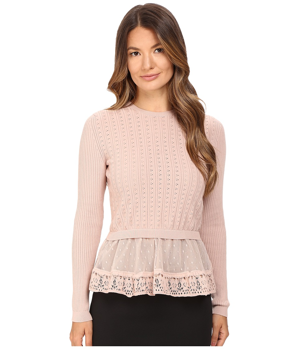 RED VALENTINO - Cotton Yarn Lingerie Stiching Point D'Esprit Sweater (Nude) Women's Sweater