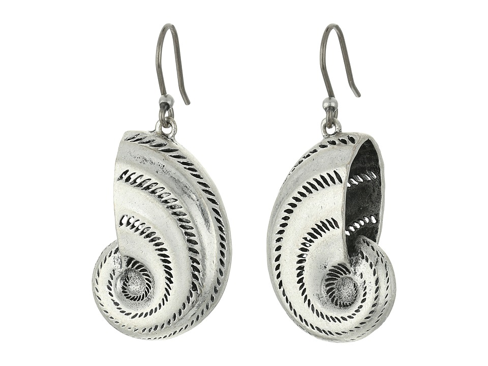 Lucky Brand - Shell Drop Earrings (Medium Grey) Earring