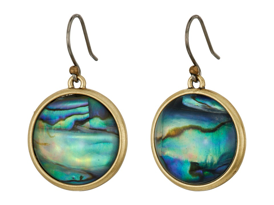 Lucky Brand - Abalone Drop Earrings (Medium Dark Gold) Earring