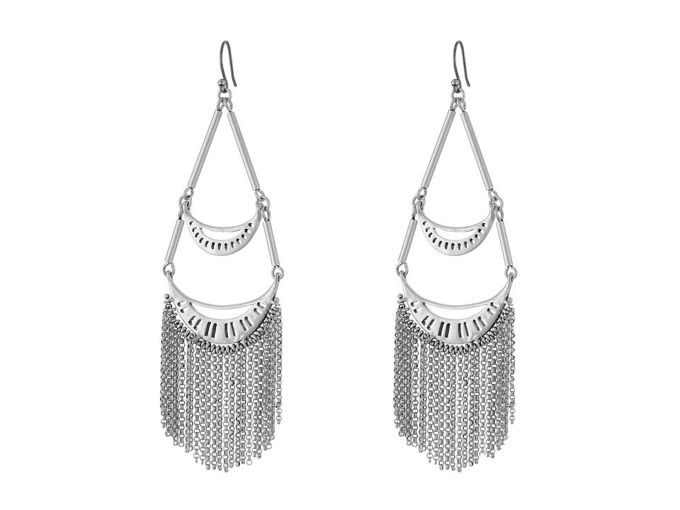 Lucky Brand - Silver Fringe Earrings (Medium Grey) Earring